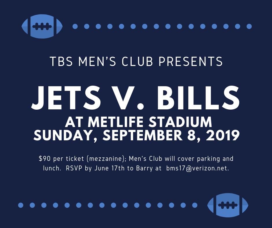 TBS Men's Club - Jets Game at Metlife Stadium - Temple Beth